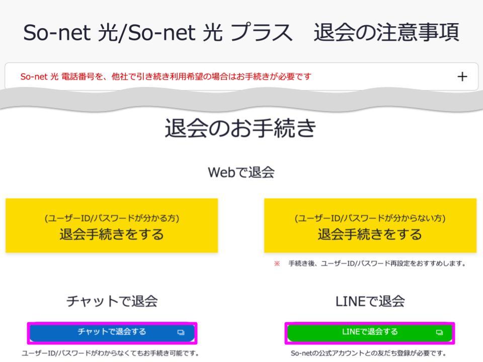 「So-net 光/So-net 光プラス 退会の注意事項」